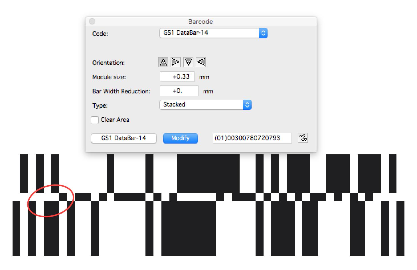 KB190841269: ArtPro - GS1 Databar-14 stacked barcode change