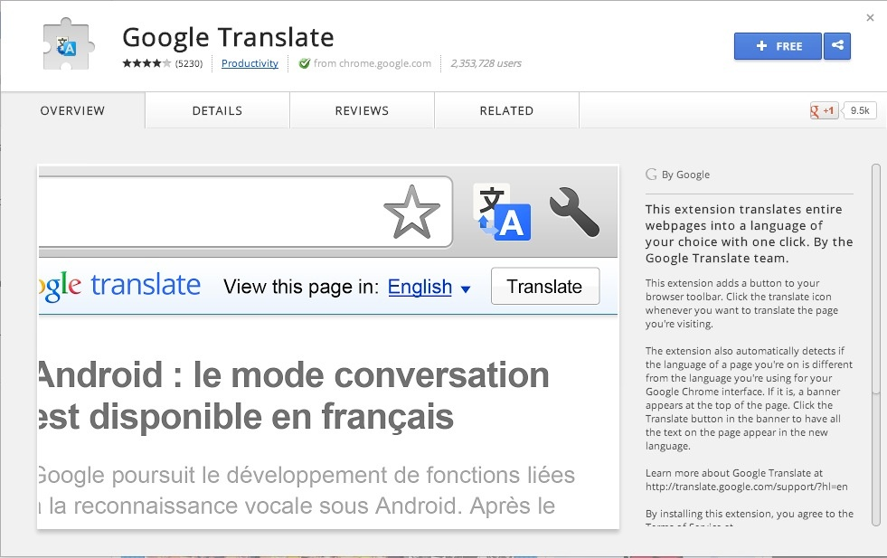 install google translate extension chrome